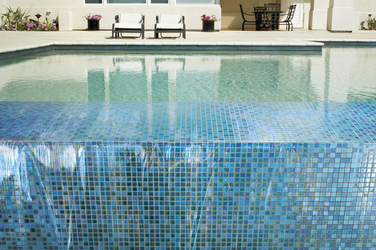 Mosaic day how to maintain and clean glass mosaic tiles for Swimming pool tile pictures