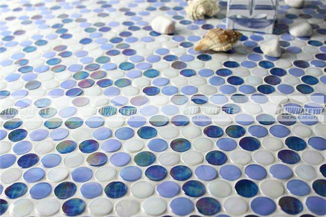 Rainbow Penny Round Iridescent Blue Bgz007 Mosaic Tile