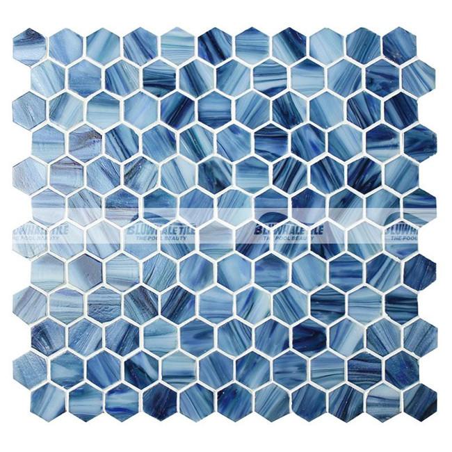 Hex gono azul bgz021 piscina de mosaicos vidrio mosaico - Azulejos hexagonales ...