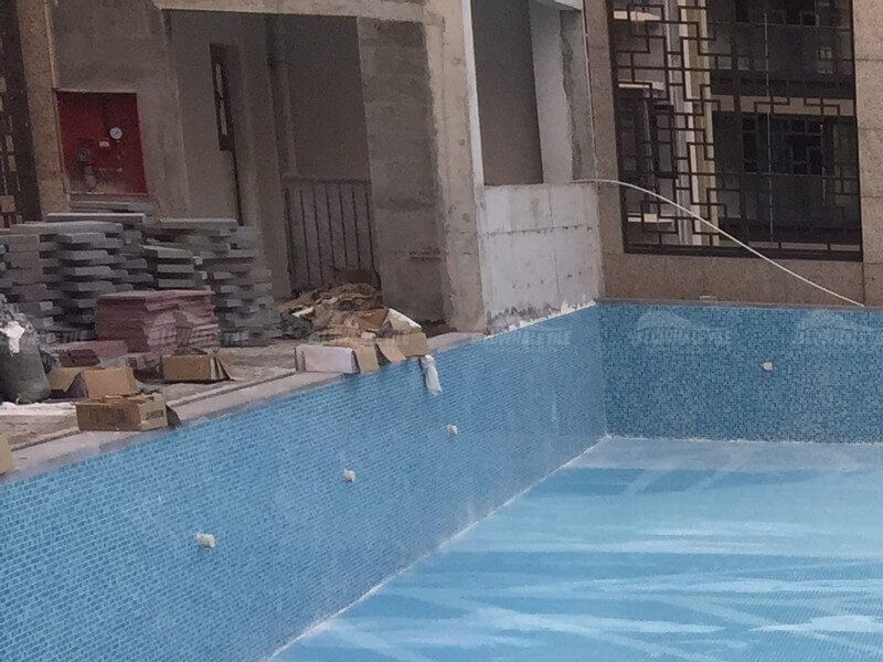 pool project with glass tile