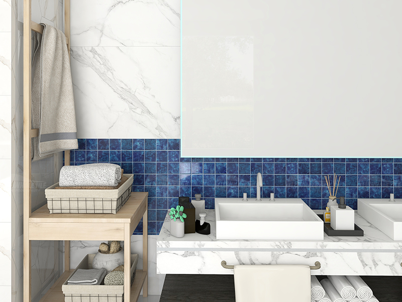 bathroom design with blue ceramic wall tiles