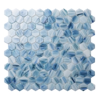 Hex BGZ036-Hexagon Mosaic, Hexagon Wall Tile, Swimming Pool Glass Mosaic