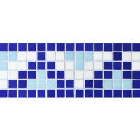 Border Blue Pyramid Design BGEB004-Mosaic tiles, Glass mosaic border, Mosaic border tiles prices