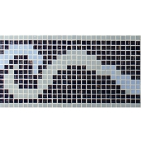 Border Black Mix Cloud Pattern BGAB004-Mosaic tile, Glass mosaic border, Tile border for pool, Black glass mosaic border tiles