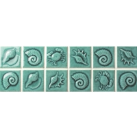Green Seashell Pattern BCKB701-Border tile, Ceramic border tile, Pool waterline tile, Waterline tile color