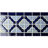 Border Blue Flower Pattern BCZB007-Mosaic tile, Ceramic mosaic border, Tile border patterns, Tile border in bathroom