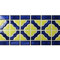 Border Blue Yellow Mix BCZB009-Mosaic tile, Ceramic mosaic border, Tile borders for backsplashes
