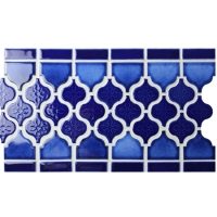 Border Blue Lantern Design BCZB010-Mosaic tile, Ceramic mosaic border, Tile border in shower
