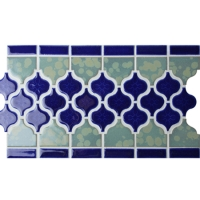 Border Blue Arabesque BCZB011-Mosaic tile, Ceramic mosaic border, Tile borders on floor