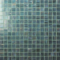 Square Green BGE702-Pool tile, Pool mosaic, Glass mosaic, Glass mosaic iridescent tile