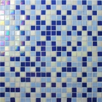 Square Blue Mix BGC021-Pool tile, Pool mosaic, Glass mosaic, Wall decor glass mosaic