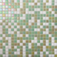 Square Green Mixed BGC036-Pool tile, Pool mosaic, Glass mosaic, Green swimming pool mosaic tile