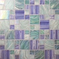 Square Mixed BGZ001-Pool tile, Pool mosaics, Glass mosaic, Hot melt glass mosaic tile