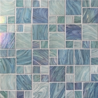 Iridescent Square Mix BGZ003-Pool tile, Pool mosaic, Glass mosaic, Glass mosaic wall tile