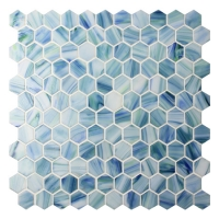 Hexagon Blue BGZ022-Pool tiles, Pool Mosaics, Glass Mosaic, Hexagon glass mosaic