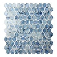 Hexagon Blue BGZ023-Pool tiles, Pool mosaic, Glass mosaics, Hexagon mosaic backsplash