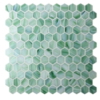 Hexagon Green BGZ025-Pool tiles, Pool mosaic, Glass mosaic, Hexagon mosaic tile