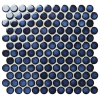 Dark Blue BCZ624A-Round mosaic tiles, Blue penny round mosaic, Penny round circular mosaic