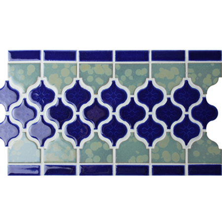 Border Blue Arabesque Bczb011, Mosaic Tile, Ceramic Mosaic Border