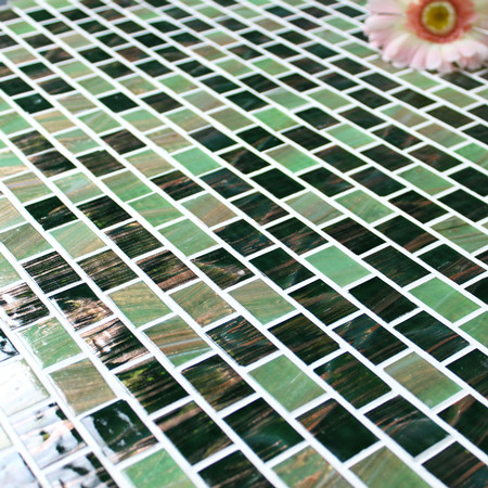Luxury Green Gold Line BGZ018,Mosaic tile, Glass mosaic, Green glass mosaic tile, Hot melt mosaic tiles from China