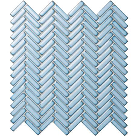 Strip Pale Blue Bcz618a Herringbone Mosaic Ceramic