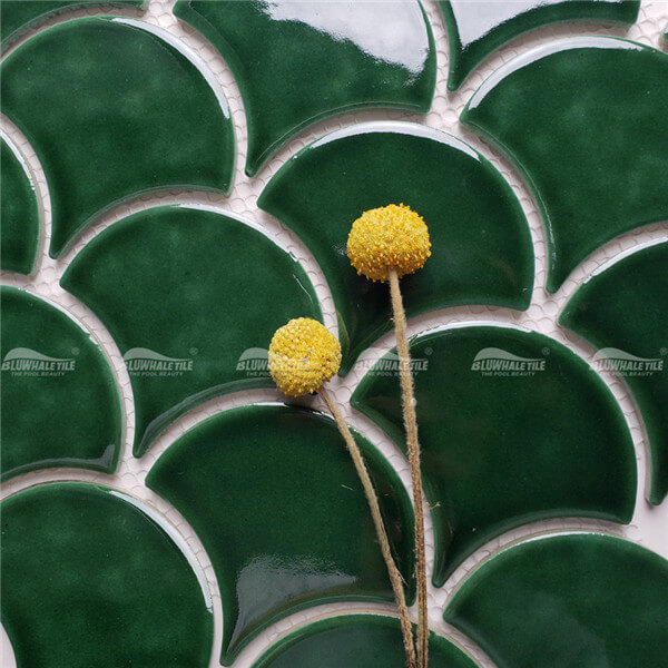 Fish Scale ZOB1705,green mosaic bathroom tiles,fish scale porcelain tile,fish scale tile for sale