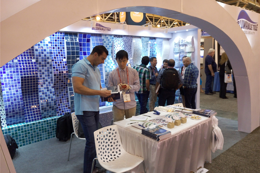 Bluwhale tile at international pool spa patio expo 2016 for Pool spa show 2016