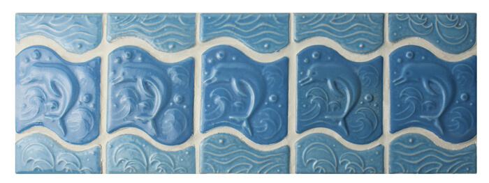 light blue dolphin patten pool porcelain border tiles.jpg