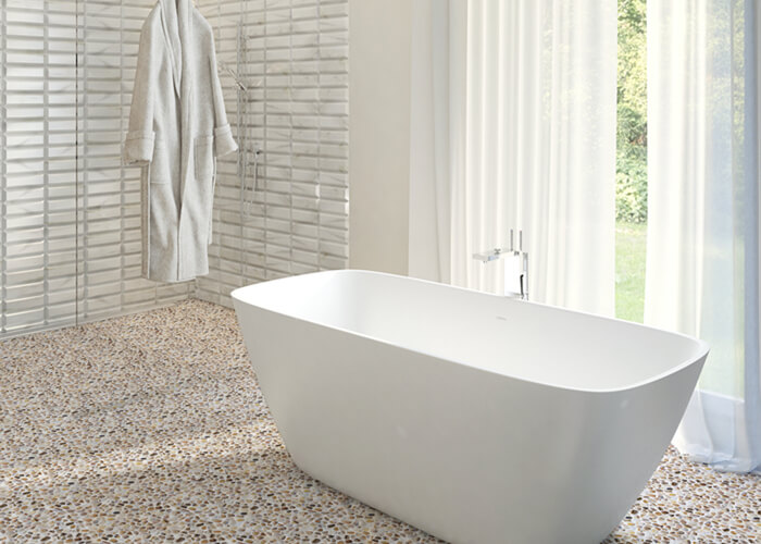 bathroom floor using artificial pebble shape glass pool tile.jpg