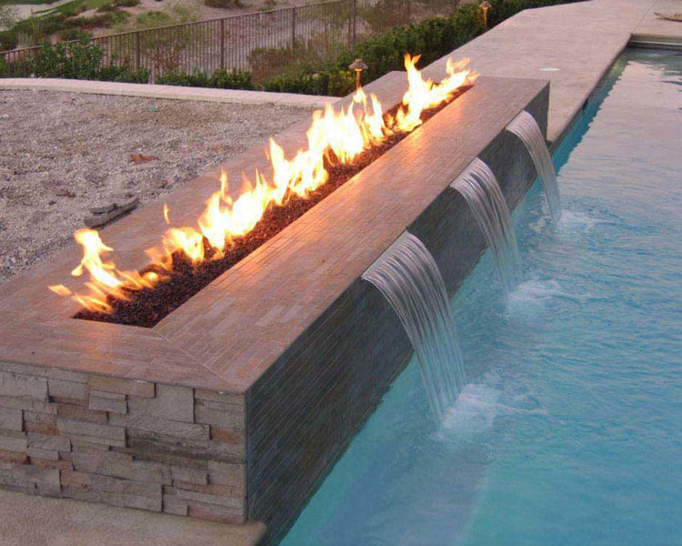 swimming pool fire and water design