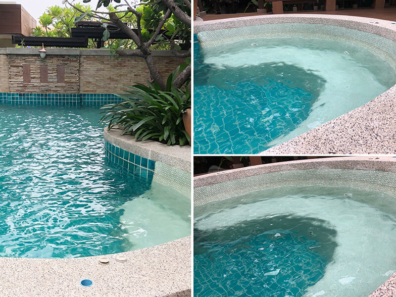 Pool Sitting Areas Design With Penny Round Mosaic Tile
