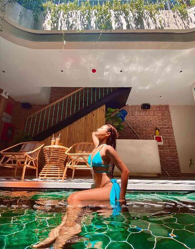 relax in trendy indoor pool