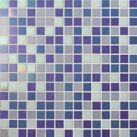 Square Blue Mixed BGE014-Pool tile, Pool mosaic, Glass mosaic, Hot melt glass mosaic