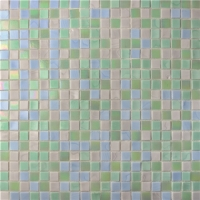 Square Glowing Green Blend BGC028-Pool tile, Swimming pool mosaic, Glass mosaic, Glass mosaic tile shower