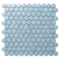 Blithe Blue BCZ925A-Round mosaic patterns, Penny round mosaic floor tiles, Round mosaic bathroom tiles