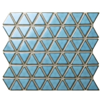 Triangle Blithe Blue BCZ627A-light blue mosaic tiles, porcelain mosaic tile sheets, blue pool tiles for sale