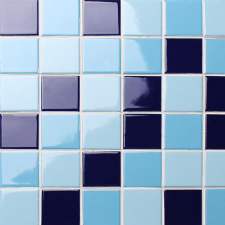 Classic Blue Checkerboard Bck007 Mosaic Tile Ceramic