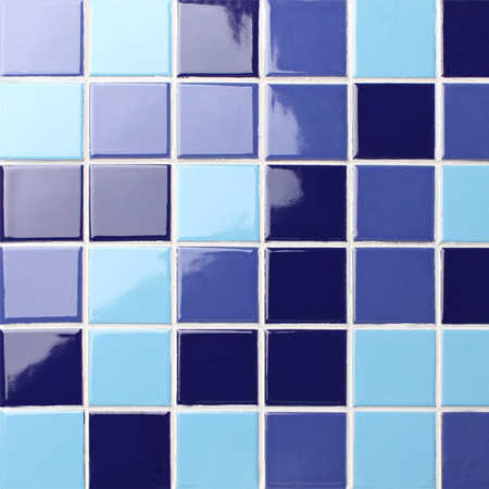 Classic Blue Checkerboard BCK006,Mosaic tile, Ceramic mosaic, Pool tile for sale, Swimming pool tile blue