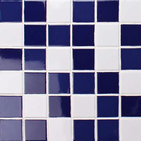 Classic Cobalt Blue and White BCK004,Mosaic tile, Ceramic mosaic, Blue White mosaic tile, Glazed mosaic tile for pool