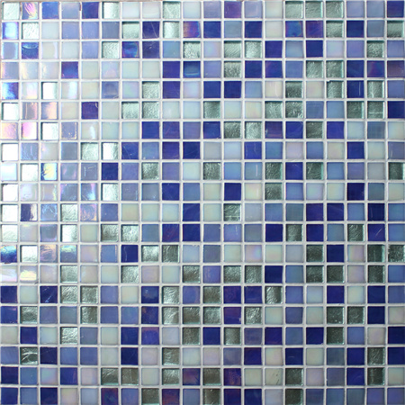 Jade Iridescent Dark Blue BGC006,Mosaic tile, Glass mosaic for swimming pool, Blue glass mosaic tile bathroom
