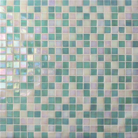 Jade Iridescent Green BGC011,Mosaic tile, Glass mosaic, Glass mosaic tile sheets, Glass mosaic pool tile