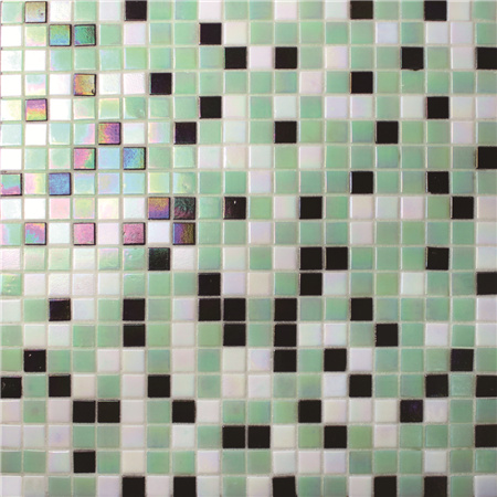 Square Green Mixed BGC037,Pool tile, Pool mosaic, Glass mosaic, Green swimming pool mosaic tile
