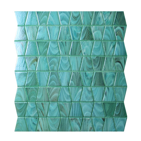 Trapezium Green BGZ006,Pool tile, Pool mosaic, Green glass mosaic tile, Anti-slip swimming pool mosaic tile
