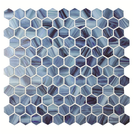 Hexagon Cloudy Blue Bgz021 Pool Mosaic Glass Mosaic Tile