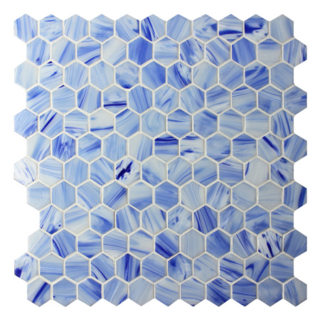 Hexagon Blue BGZ024,Pool tiles, Pool mosaics, Glass mosaics, Hexagon mosaic floor tile