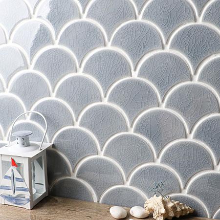 Frozen Fan Shape Crackle BCZ304, Mosaic tile, swimming pool ...