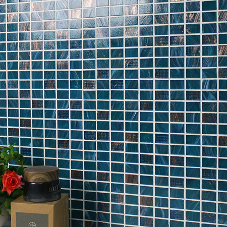Luxury Blue Mix Gold Line BGZ009,Mosaic tile, Glass mosaic, Pool glass mosaic tile, China Melting glass mosaic tile