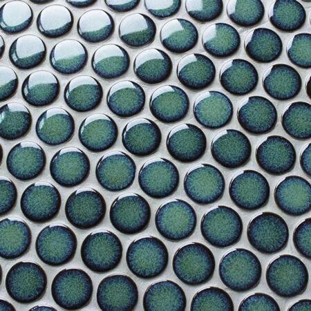 Dark Green Bcz923a Penny Round Mosaic