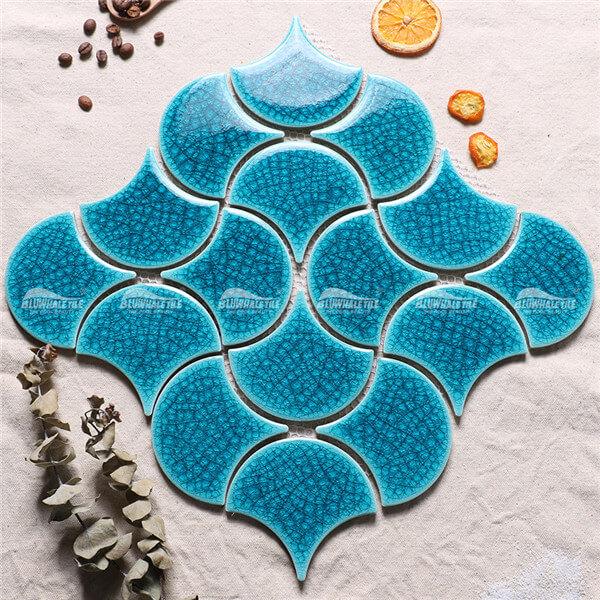 Frozen Fan Shape Crackle BCZ714-B, fish pool tile, fan ...