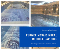 Swimming Pool Project: Flower Pattern Mosaic Mural In Hotel Lap Pool-best tile for pool waterline, glass murals, flower mural